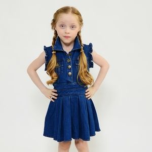 Denim Pleated Skirt Short Sleeve Dress